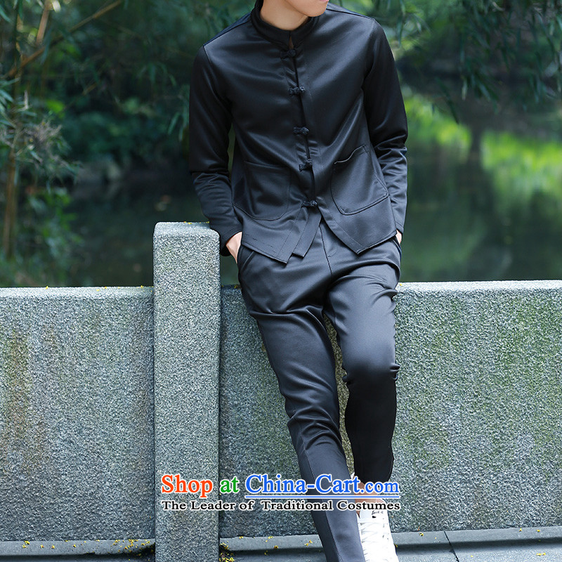 Uyuk2015 autumn and winter China wind retro Tang jackets Korean Sau San disk detained classical wind jacket small jacket of the sportswear male and black聽L,uyuk,,, shopping on the Internet