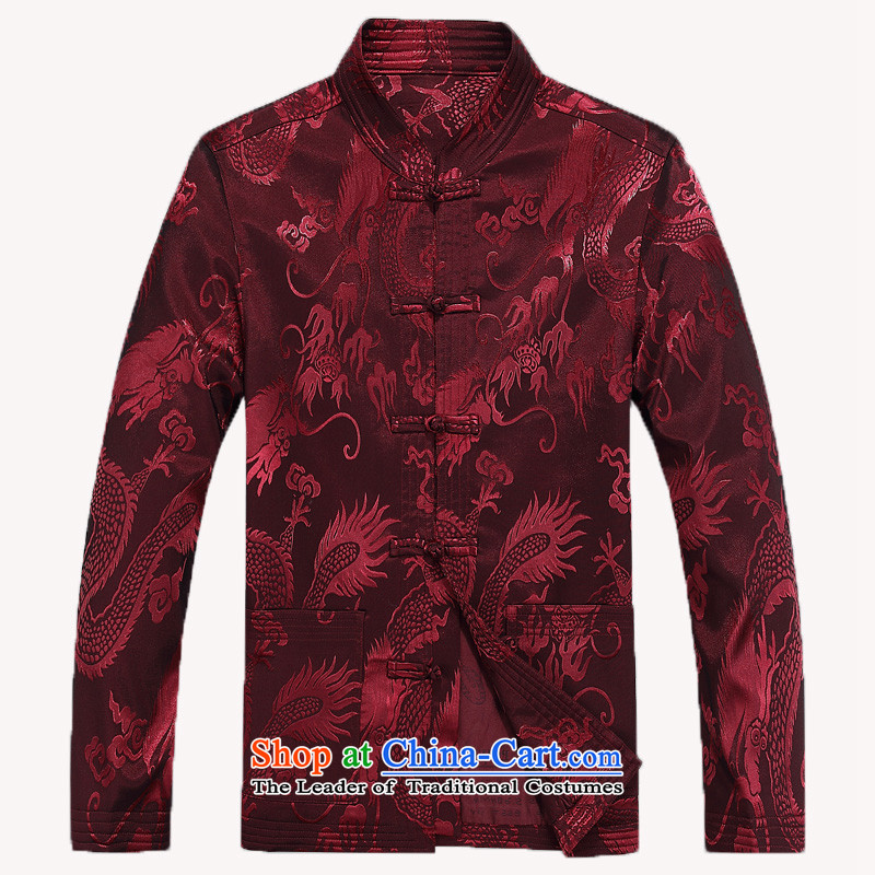 The autumn 2015 new men aged jackets Tang national costumes Large Dragon Chinese men's father replacing costumes F8802�XL/180 wine red