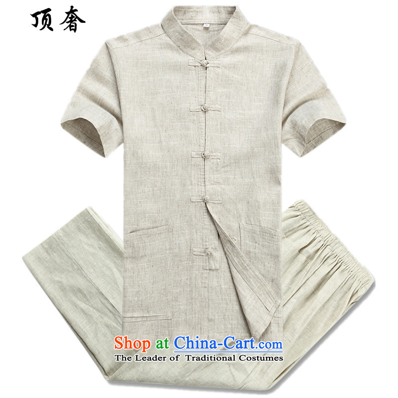 Top Luxury Tang Dynasty Package spring, summer, autumn, a mock-neck disc tie china wind loose version of national service in older long-sleeved father Tang Dynasty Package Gray Men,�42_ 2042 long-sleeved beige�0_XL Kit