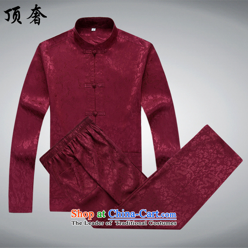 Top Luxury older Tang Dynasty Package short-sleeved men's new Tang blouses men's summer short-sleeved half sleeve men silk cotton father replacing Tang dynasty China wind Kit, Kit?170_M red