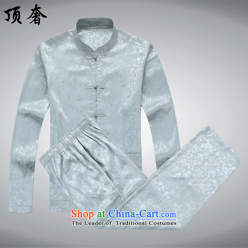 Top Luxury men Tang dynasty long-sleeved kit spring and summer fall of older persons in the costume Han-load grandfather during the spring and autumn to increase of gray too life jackets exercise clothing gray_ Kit?165