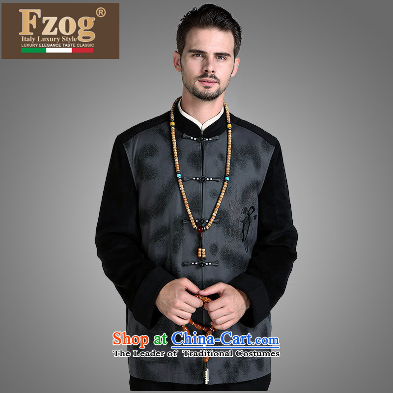 �The fall of the new China FZOG wind from Jewish men's jackets and ties animal tattoo middle-aged disc men's leisure-black�XXXXL Tang
