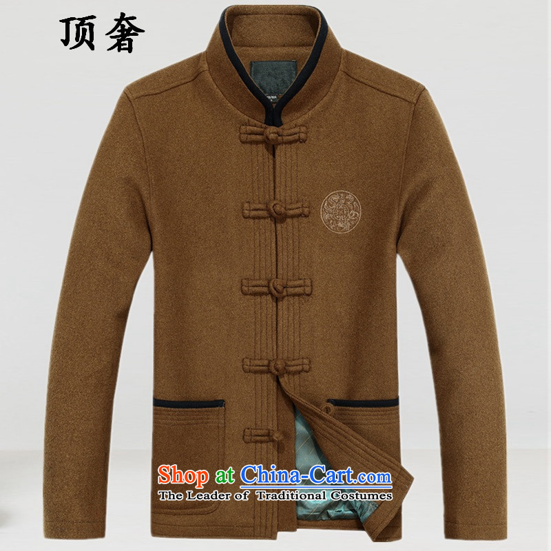 Top Luxury Tang dynasty in older Mock-neck leisure, wool Tang jackets wedding dresses during the spring and autumn of the sushi men Chinese jacket, brown 88020 load father聽190