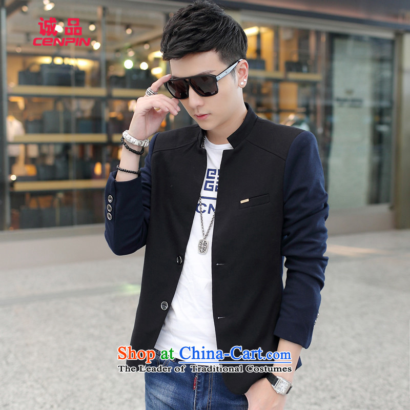 Eslite autumn and winter coats of leisure new male Korean Leisure Men's Mock-Neck jacket B465 black XXL