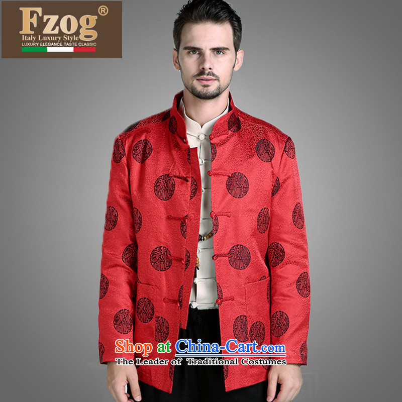 Fzog?minimalist atmosphere China wind men stereo disc loose geometry middle-aged men detained-style leisure long-sleeved Tang Red?XL
