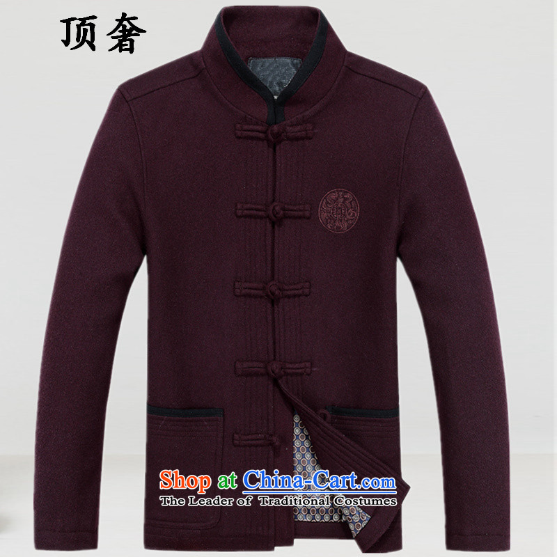 Top Luxury in autumn and winter elderly men, Tang woolen sweater, Chinese national costumes wedding replacing Tang Dynasty Grandpa Male dress loose version is detained Han-wine red_聽170
