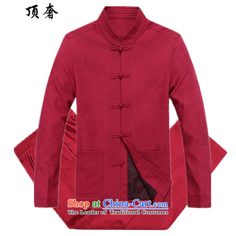 Top Luxury older short-sleeved Tang Dynasty Package Men's Mock-Neck Shirt short-sleeved tray clip relaxd large male Pants Shirts China wind of ethnic costumes to xl 88020 Red Kit XXL/185