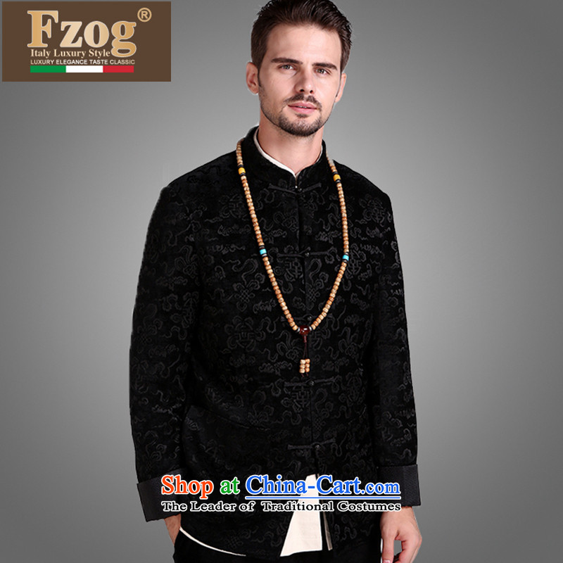 �The Chinese culture FZOG quality of men from hot velvet flower processing tray clip relaxd long-sleeved stereo with comfortable black�XXXL Tang