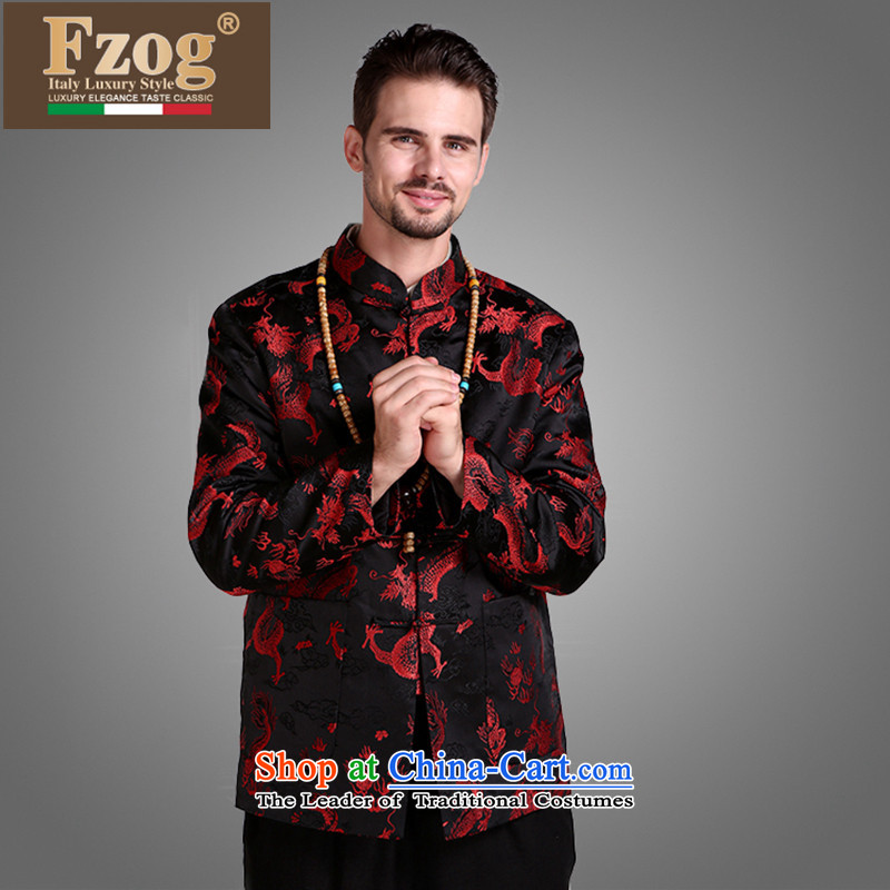 ?The autumn and winter of Chinese FZOG wind national men's hands-free ironing disposal of animal ribbed collar middle-aged long-sleeved black Tang relaxd?XXXL