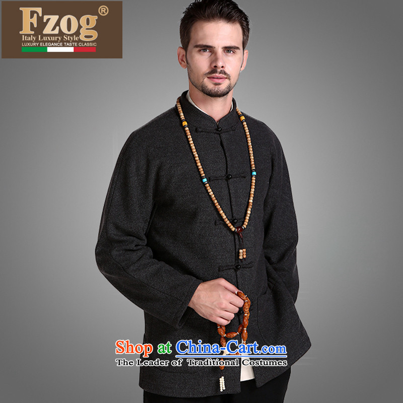 Fzog爏tylish and simple China wind men middle-aged men's comfort and breathability loose pure color long-sleeved Tang dynasty from iron Black燲L