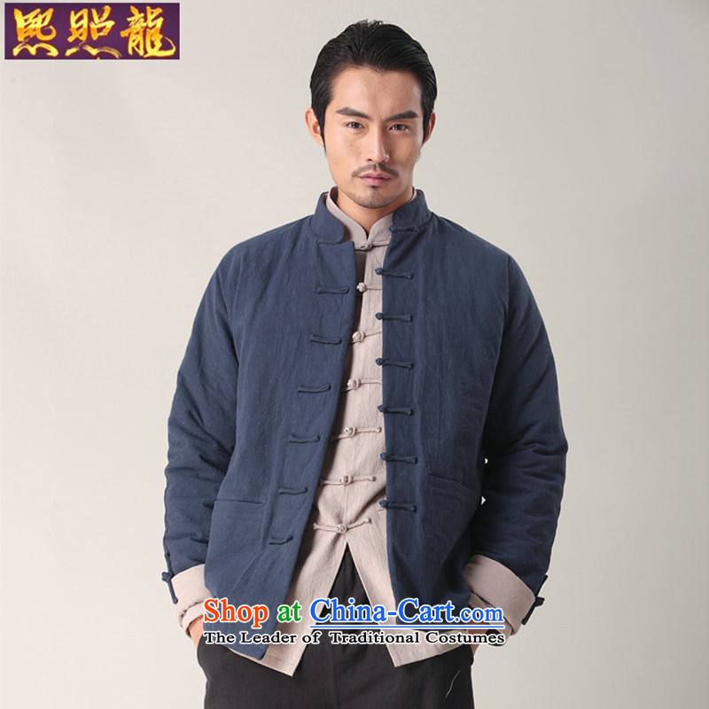 Hee-snapshot lung autumn and winter New Men Tang dynasty long-sleeved robe cotton linen coat shirts and China wind men Blue M