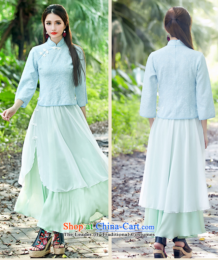 Figure Momoe聽 autumn 2015 installed the new Republic of Korea wind improved disk retro detained qipao shirt-sleeves skyblue stamp costume horn聽M picture, prices, brand platters! The elections are supplied in the national character of distribution, so action, buy now enjoy more preferential! As soon as possible.