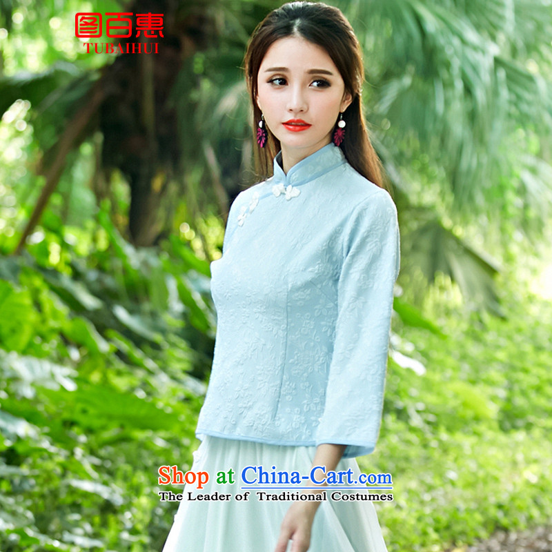 Figure Momoe聽 autumn 2015 installed the new Republic of Korea wind improved disk retro detained qipao shirt-sleeves skyblue stamp costume horn聽M