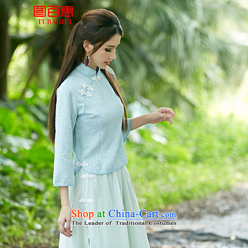 Figure Momoe聽 autumn 2015 installed the new Republic of Korea wind improved disk retro detained qipao shirt-sleeves skyblue stamp costume horn聽M figure Momoe (TUBAIHUI) , , , shopping on the Internet