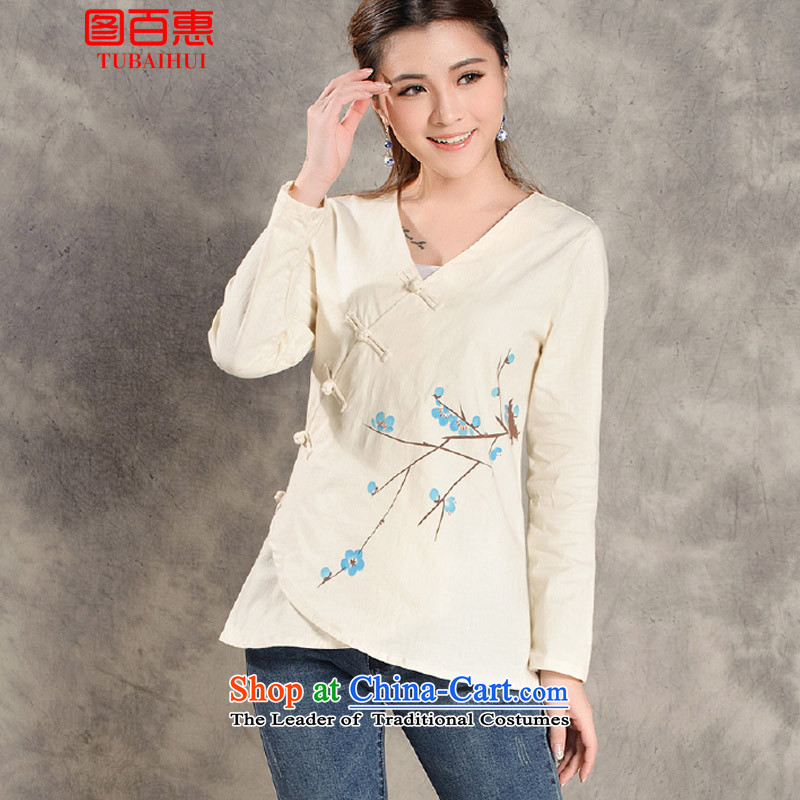 Figure Momoe? 2015 tray clip Chinese improved long-sleeved Autumn Chinese female Han-tea service qipao shirt White?XL