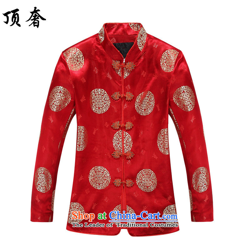Top Luxury聽2015 men's blouses loose version Tang collar up wedding dresses detained Han-chun of red jacket from older Tang Tang dynasty women clothes women 170