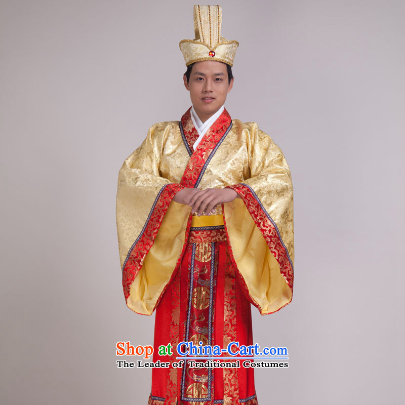 The Minister Han Han Dynasty clothing costume clothes company's annual session will costumes men costumes yellow adult 160-175CM)