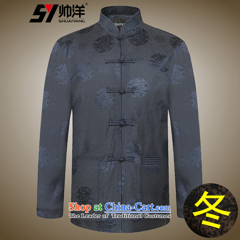 The new man Tang dynasty 茫镁貌芒 winter thick warm wind China wind men robe of older folder and winter clothes plus Chinese men's woolen luckiest festive navy聽170