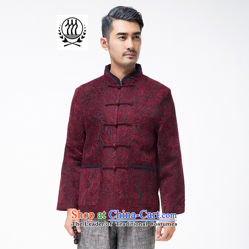 Thre line autumn and winter and new men in older satin stamp Tang dynasty democratic wind Men's Mock-Neck manual disk Chinese Tie Tang jackets F770 wine red L_175
