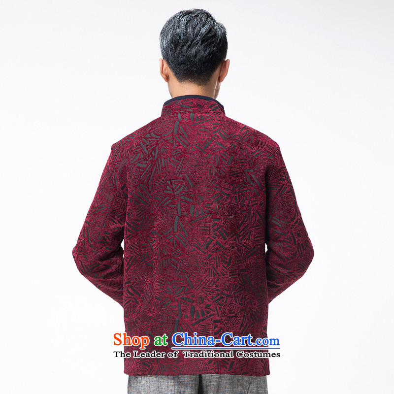 Thre line autumn and winter and new men in older satin stamp Tang dynasty democratic wind Men's Mock-Neck manual disk Chinese Tie Tang jackets聽F770 wine red聽L/175, thre line (gesaxing and Tobago) , , , shopping on the Internet