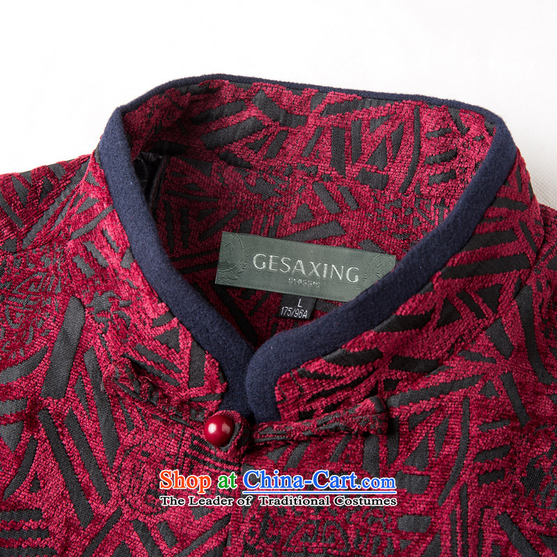 Thre line autumn and winter and new men in older satin stamp Tang dynasty democratic wind Men's Mock-Neck manual disk Chinese Tie Tang jackets F770 wine red L/175, thre line (gesaxing and Tobago) , , , shopping on the Internet