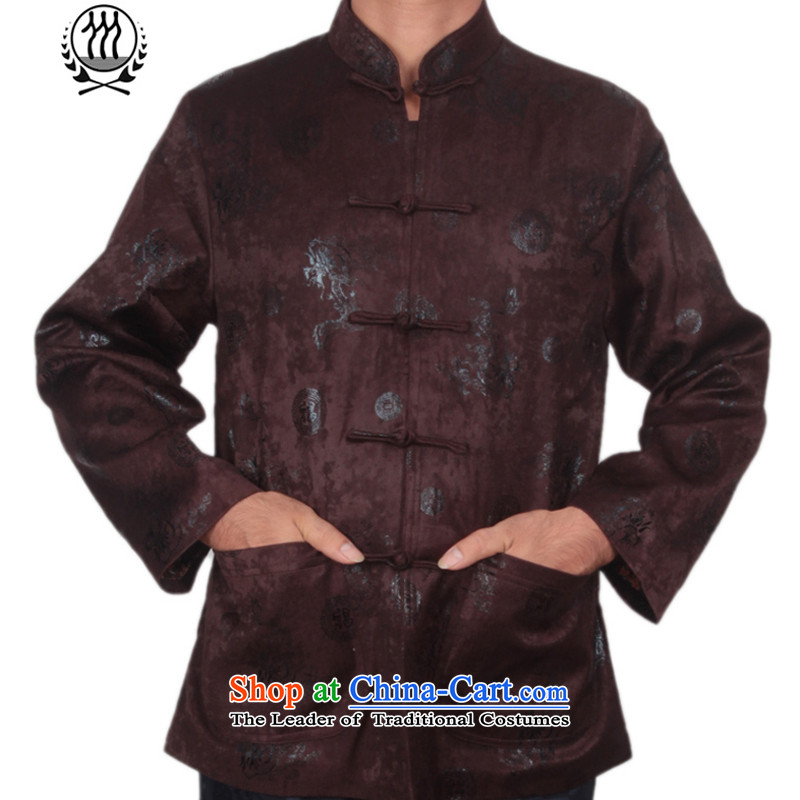 Thre line autumn and winter and new men satin foron pattern Tang dynasty democratic wind Men's Mock-Neck Stamp Tang jackets in older disk Tang dynasty F1225 detained XXL/185 Brown