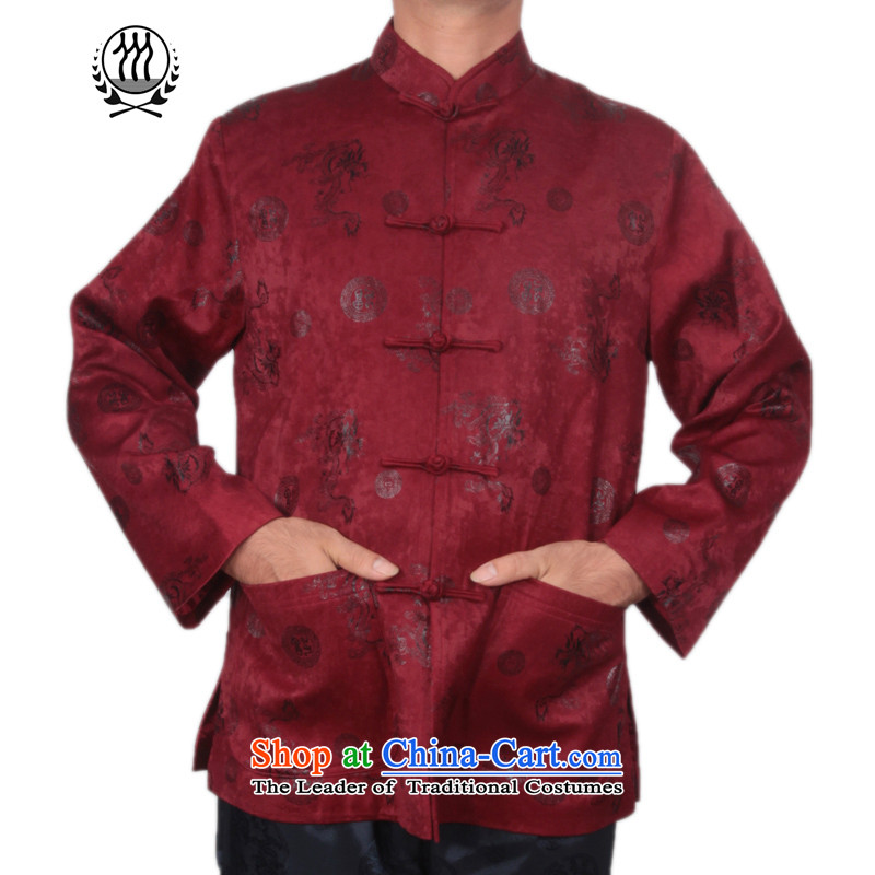 Thre line autumn and winter and new men satin foron pattern Tang dynasty democratic wind Men's Mock-Neck Stamp Tang jackets in older disk Tang dynasty F1225 detained聽XXL/185, espresso and thre line (gesaxing) , , , shopping on the Internet