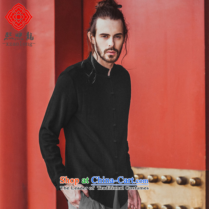 Hee-Snapshot Lung Men forming the Tang dynasty shirt linen adhesive trendy and comfortable Chinese shirt collar autumn 2015 new black聽L