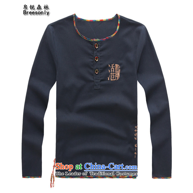 8Vpro Forest (breesonly) national costumes and flax long-sleeved T-shirt autumn 2015 large load embroidery T-shirt?CT89 male and?Navy?L