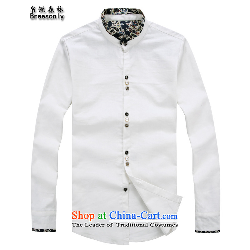 8Vpro Forest (breesonly) national costumes and cotton linen autumn boxed long-sleeved shirt of male large retro Mock-Neck Shirt male?CX35??5XL White