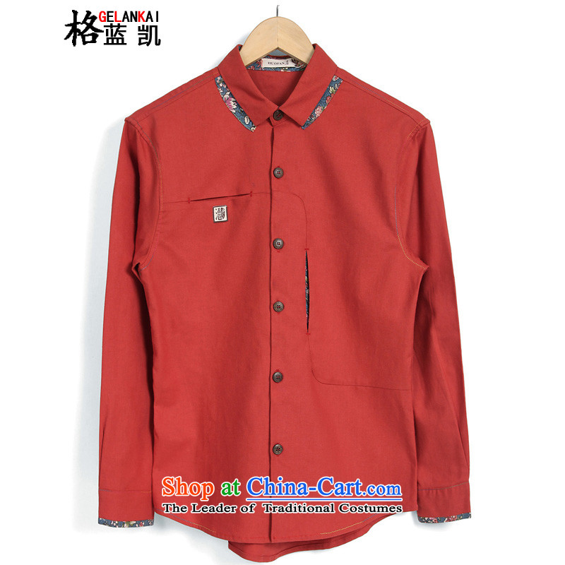 The blue Kai _GELANKAI_ ethnic costumes larger fall of long-sleeved shirt men date of retro shirt men? C901?RED?L