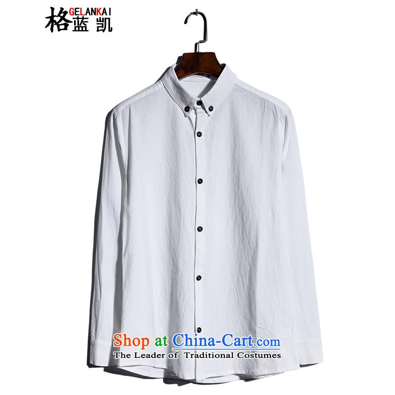 The blue Kai (GELANKAI) Tang Dynasty Chinese tunic autumn 2015, men's shirts larger linen long sleeved shirt� CX9801�White�M Male