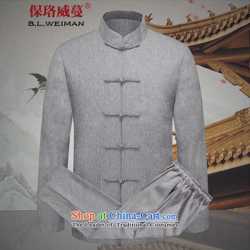 The Lhoba nationality Wei Mephidross warranty cotton linen couples with men and a long-sleeved linen tang of older persons in the autumn Women's clothes clothing China wind kit purple gray (COUPLES PACKAGE TZ2501) men?170/M