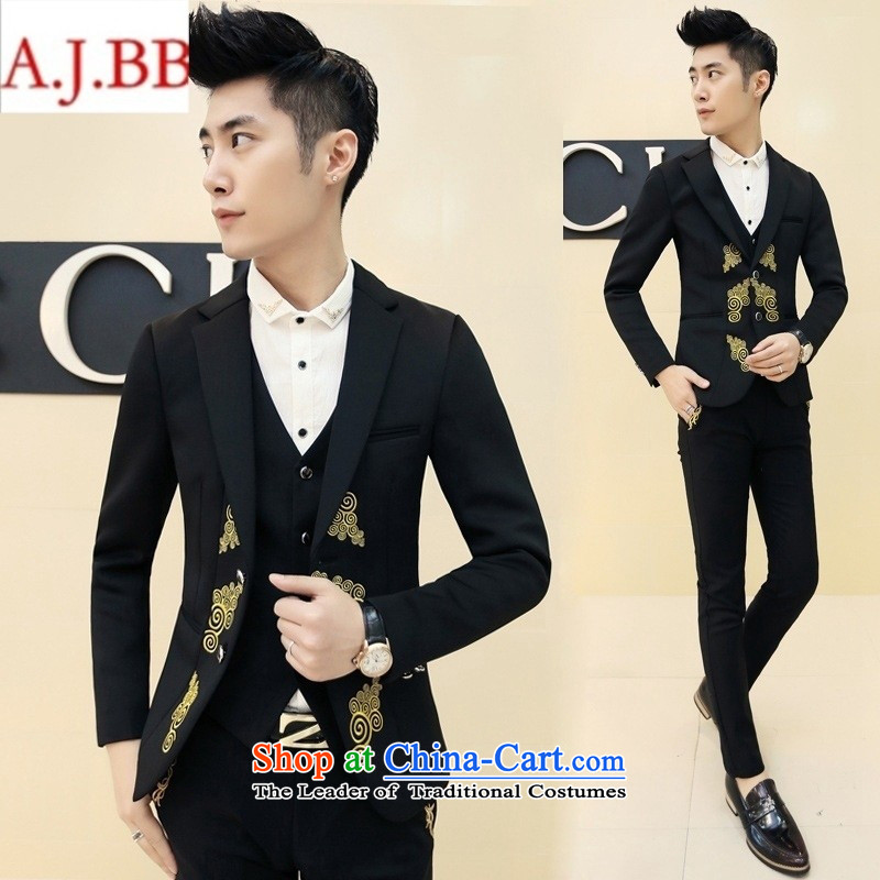 Orange Tysan _2015 autumn and winter men suit retro embroidered dress pants a hairdresser Korean wedding dress燗407 XZ34燛UR48 black