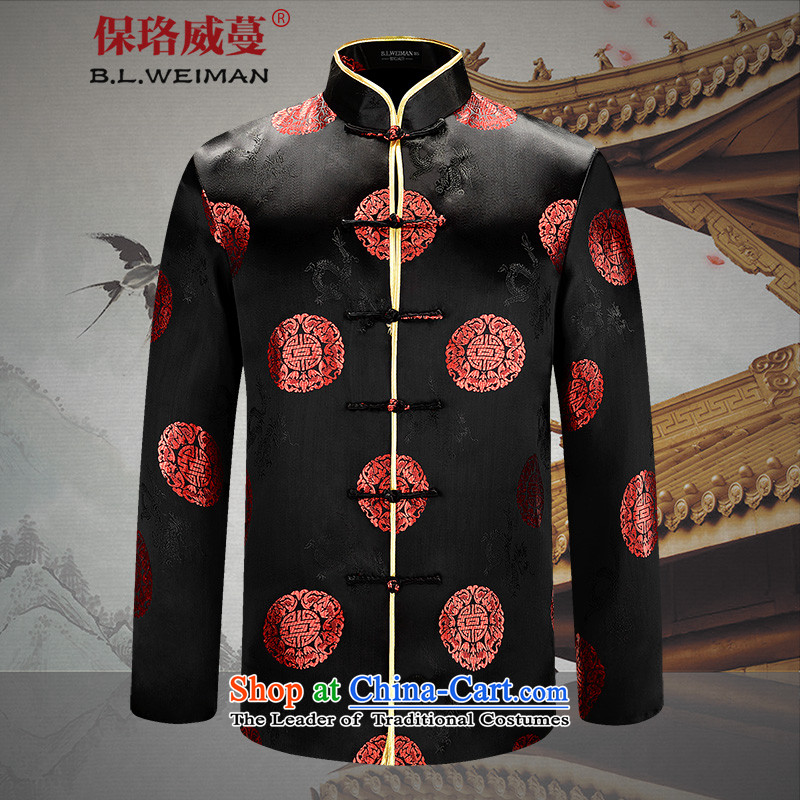 The Lhoba nationality Wei Overgrown Tomb in warranty older couples replacing Tang dynasty men's birthday clothes jacket spring and fall from the old age pension wedding dress classic black _male_ 185_XXL