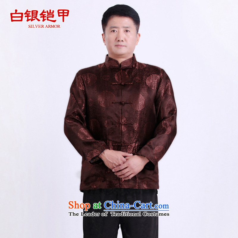 Silver armor in older men Tang dynasty male thick large padded coats men Tang dynasty winter coats and spring older persons Shou Tang dynasty brown?XXL