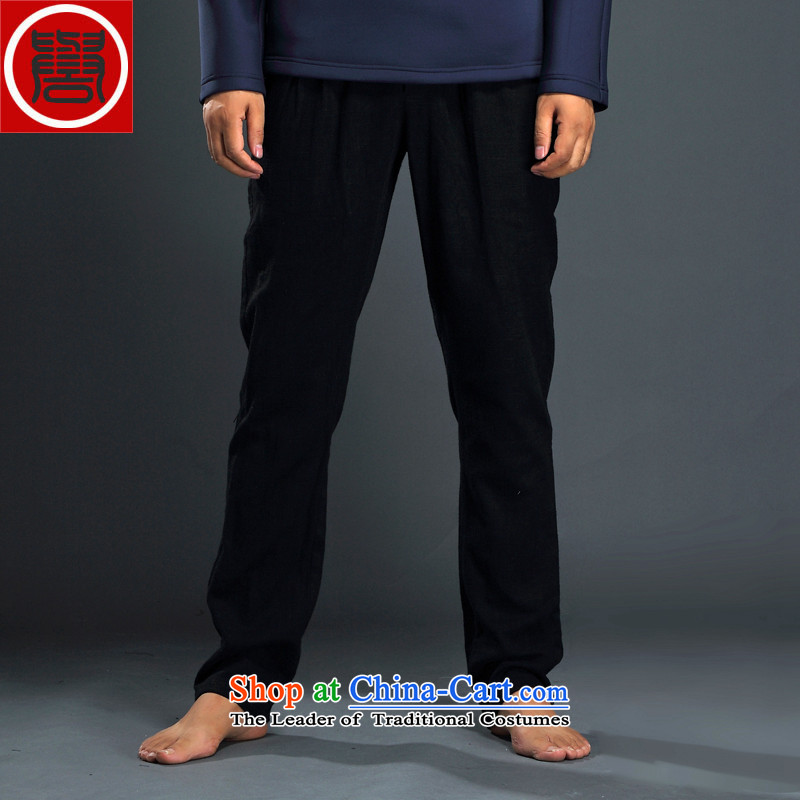 Renowned Tang dynasty China wind men's double linen pants and a straight relaxd elastic waist cotton linen and long pants and black XXXL