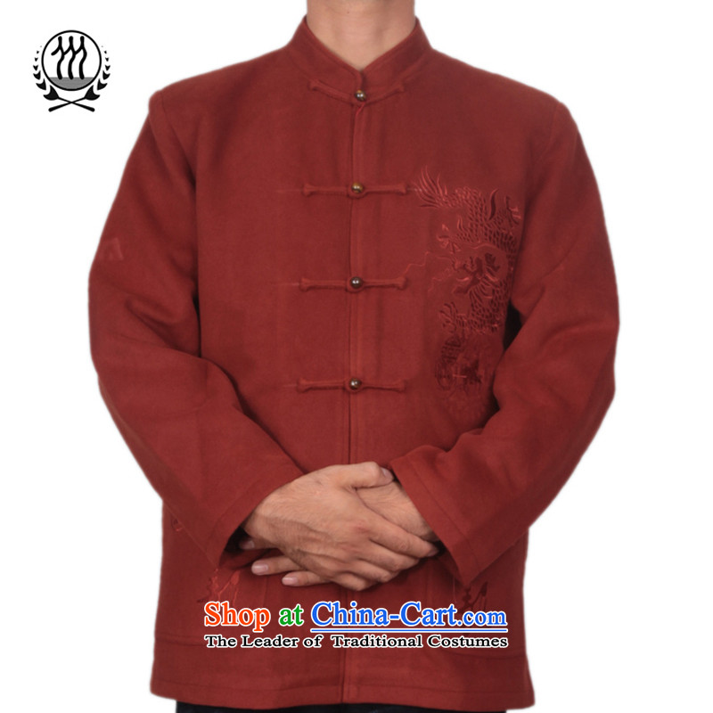 Bosnia and the elderly in the line thre men gross? Tang dynasty embroidery China wind autumn and winter new manually disc detained Chinese collar Tang jackets? , Orange Red?XL_180 F1503