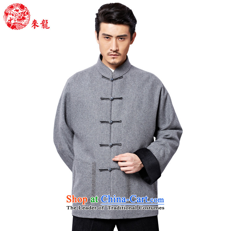 To Tang Dynasty Dragon聽2015 autumn and winter New China wind men wool coat聽15569 Disc detained retro聽gray gray聽52