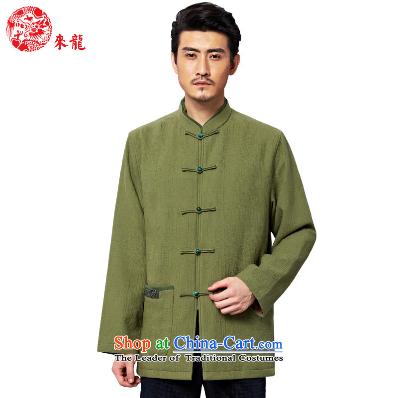 To Tang Dynasty Dragon?2015 autumn and winter New China wind men jacquard cotton jacket?15575?Green Green?52