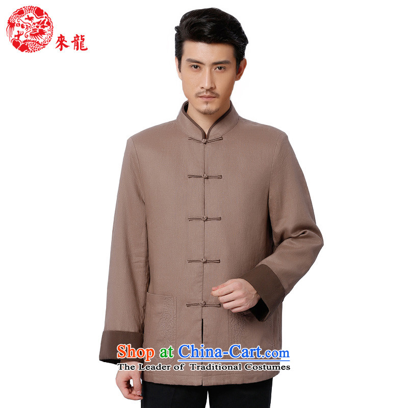 To Tang Dynasty Dragon�2015 autumn and winter New China wind men linen coat�15579 retro�apricot apricot color�50