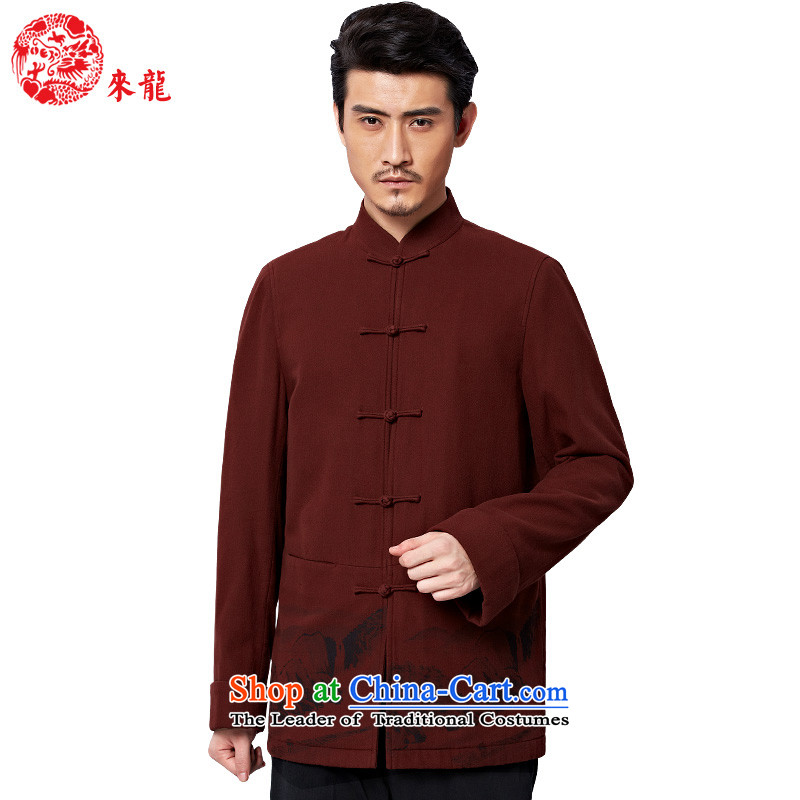 To Tang Dynasty Dragon聽2015 autumn and winter New China wind men retro pure cotton jacket聽15576聽Red Deep Red聽46
