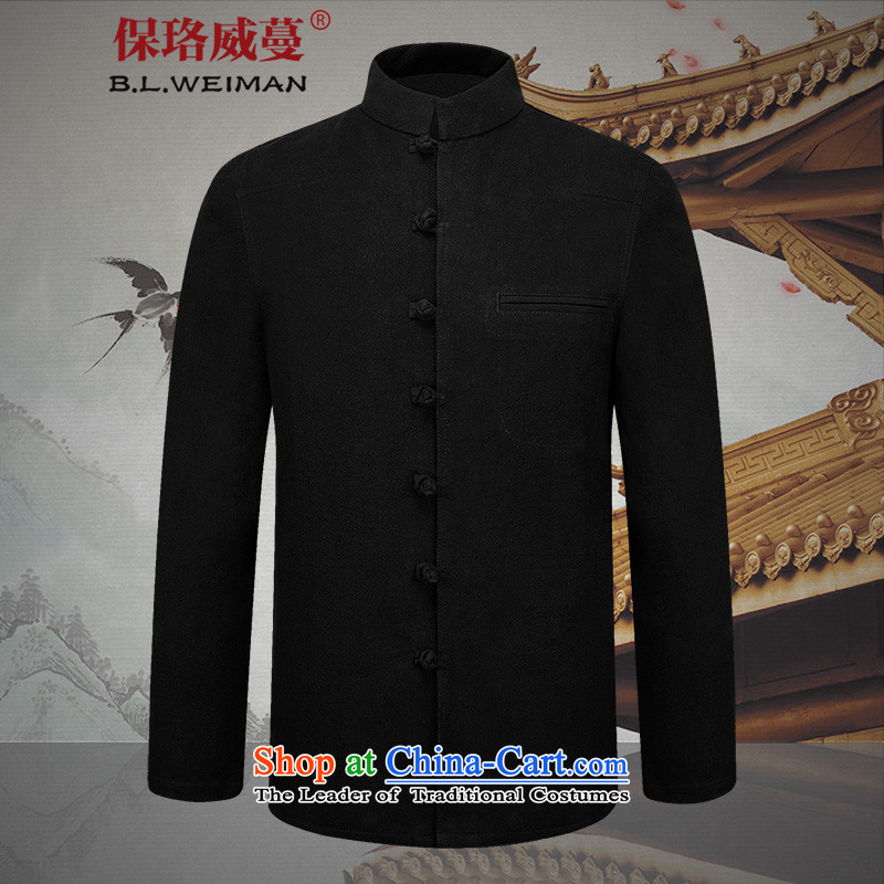 The spring of the Lhoba nationality Wei Mephidross Warranty New Men Chinese tunic collar Solid Color Tang dynasty male cotton linen clothes father pack Black?190/XXXL