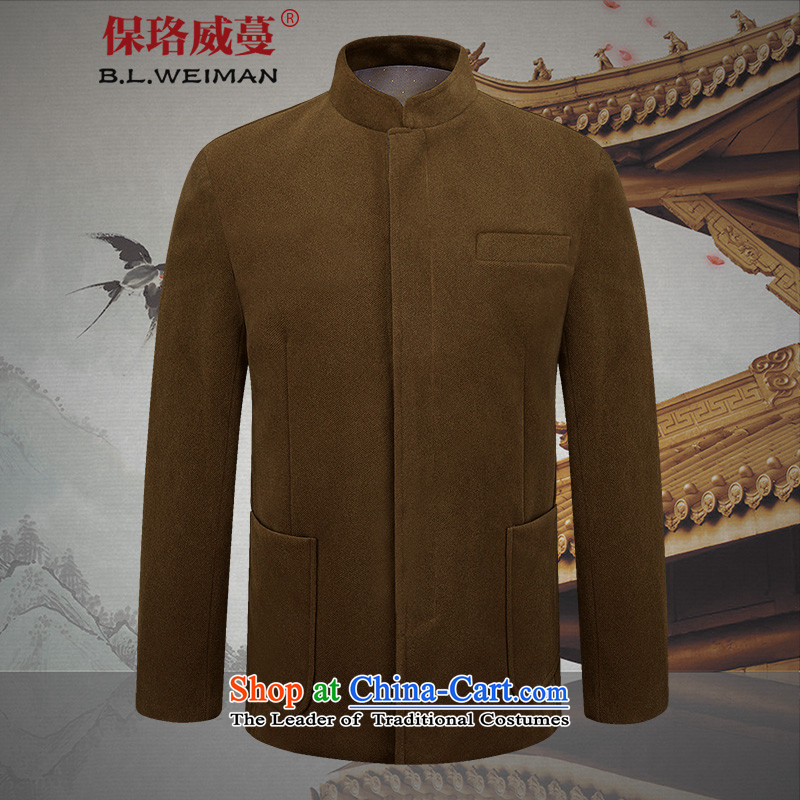 The Lhoba nationality Wei Mephidross warranty leisure Tang dynasty men spring new corduroy jacket men of older persons in the clothes with brown聽175_L Dad