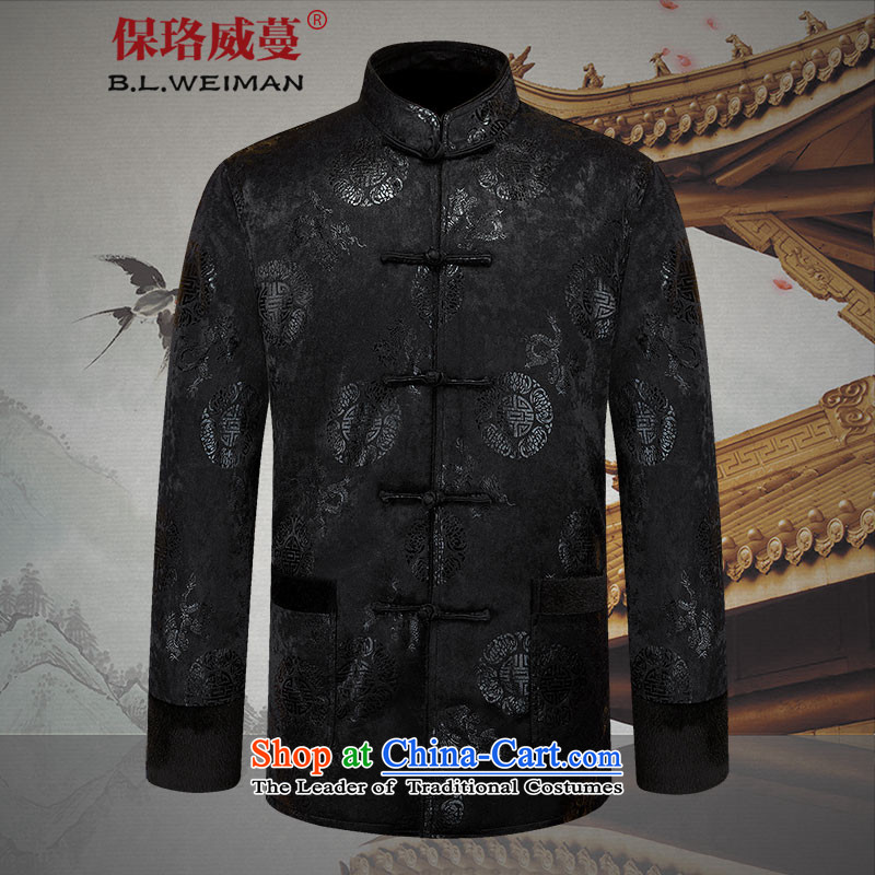 The Lhoba nationality Wei Overgrown Tomb in warranty older men Tang Dynasty hailed men plus lint-free long-sleeve sweater spring coat men black聽185_XXL