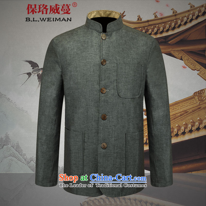 The spring of the Lhoba nationality Wei Mephidross warranty new products men Tang Dynasty Chinese tunic long-sleeved dad relax linen with breathable wicking�185/XXL Light Gray