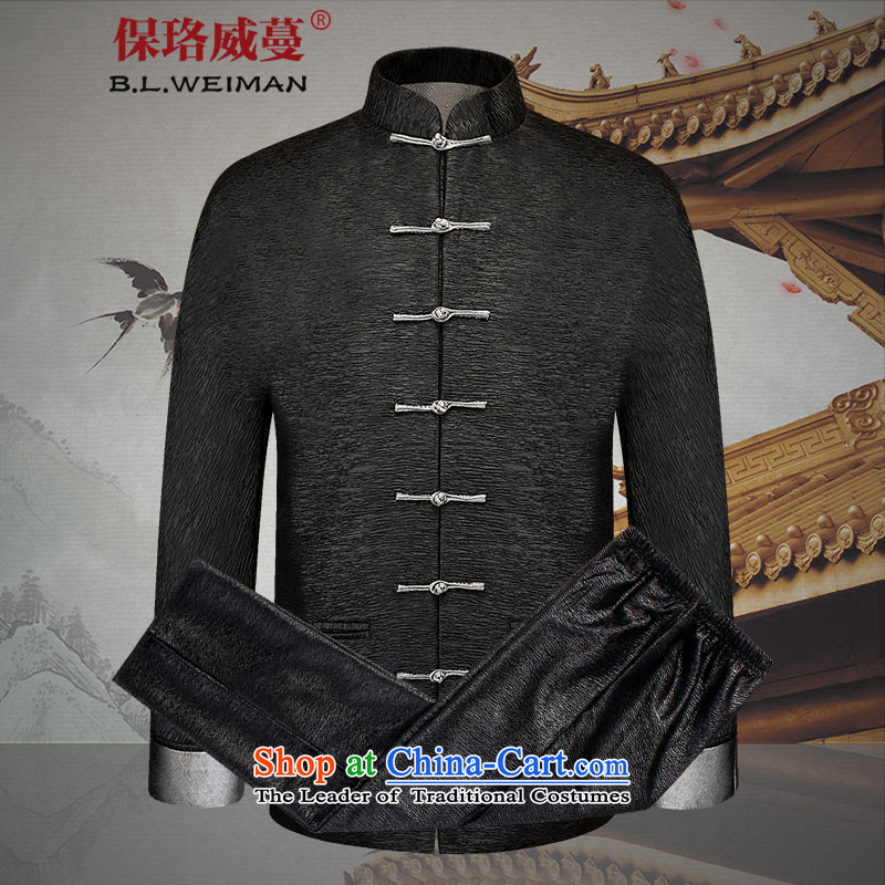 The Lhoba nationality Wei Overgrown Tomb in spring and autumn post new products in Tang Dynasty older men and packaged China Wind Jacket men's clothes, thread the thin black聽190_XXXL
