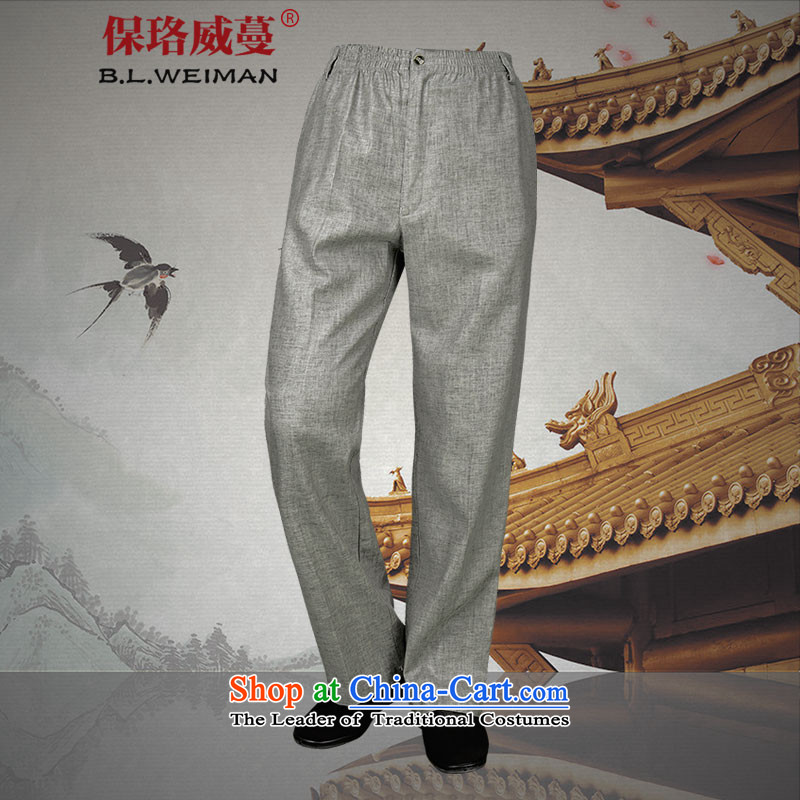 The Lhoba nationality Wei Mephidross warranty light summer, casual pants men cotton linen pants in older trousers loose, cool breathability?185_XXL Light Gray