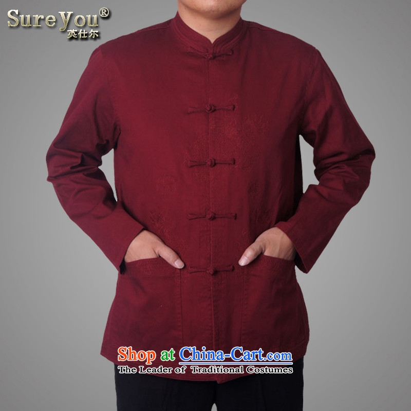 Mr Rafael Hui-ying's New Man Tang jackets spring long-sleeved shirt collar male China wind Chinese elderly in the national costumes holiday gifts deep red 7,726 170