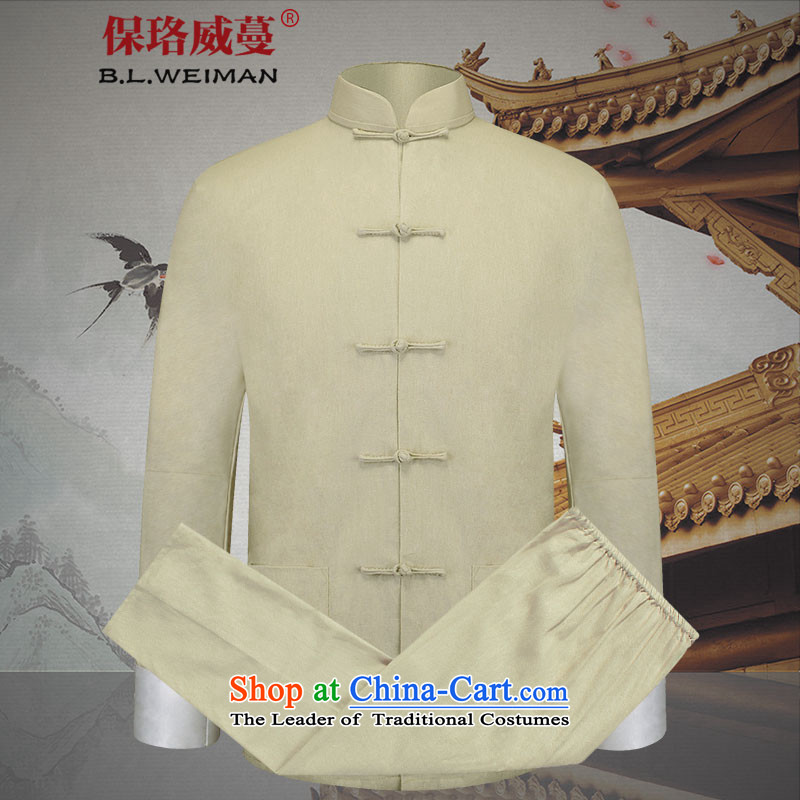 The Lhoba nationality Wei Overgrown Tomb in spring and autumn warranty cotton linen and Tang Dynasty Package new linen men long-sleeved sweater father casual聽175_L PERLATO SVEVO